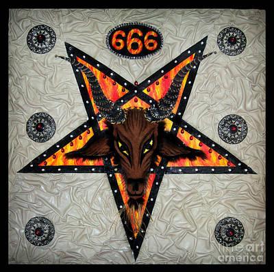 Pentagram Painting - Baphomet - Satanic Pentagram - 666 by Sofia Metal Queen