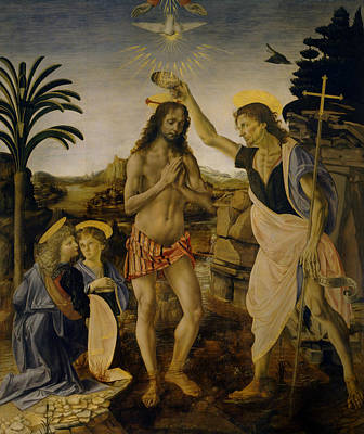 Painting - Baptism Of Christ by Leonardo da Vinci