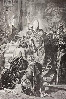 Baptism Drawing - Baptism Of Saint Stephen I, Born Vajk by Vintage Design Pics