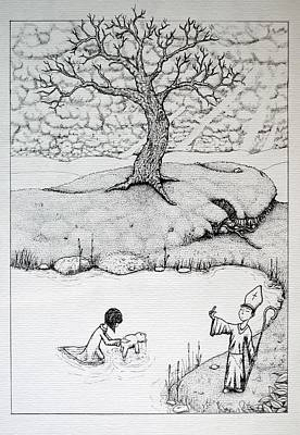 Print featuring the drawing Baptism Of Ted E. Bear by Josean Rivera