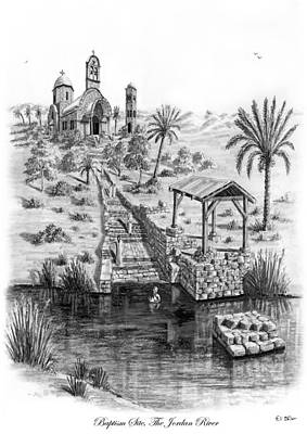 River Jordan Drawing - Baptism On The Jordan River by Eli Ofir