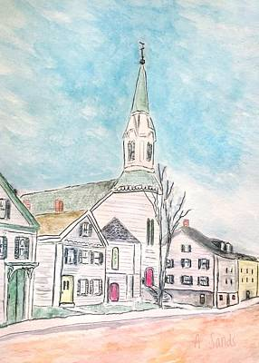 Painting - Baptist Church Amesbury by Anne Sands