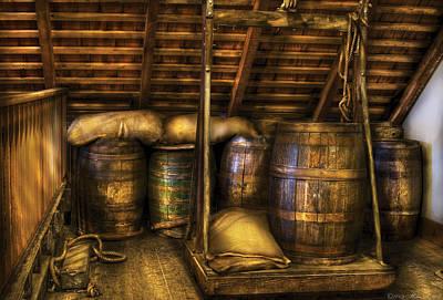 Bar - Wine Barrels Print by Mike Savad