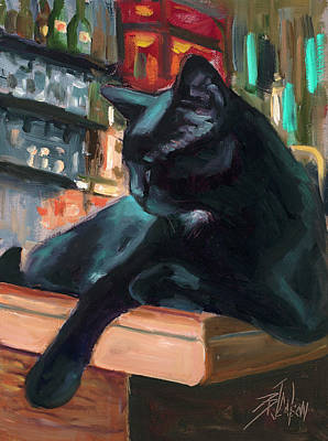 Painting - Bar Cat by Billie Colson