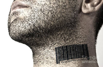 Black Commerce Photograph - Bar Code On Neck by Blink Images