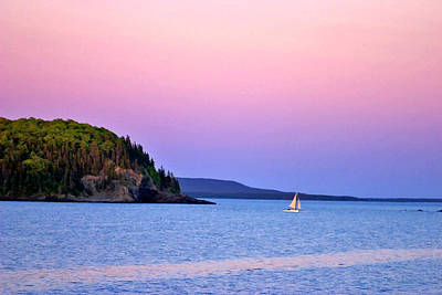 Print featuring the painting Bar Harbor Sunset by Larry Darnell