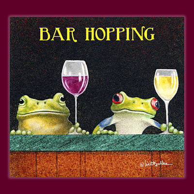Frogs Painting - Bar Hopping. by Will Bullas