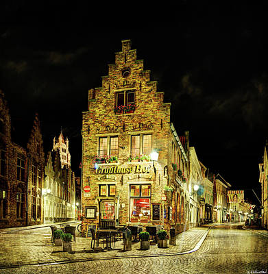 Photograph - Bar In Bruges Night - Vintage Version by Weston Westmoreland