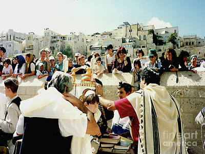 Photograph - Bar Mitzvah At The Western Wall Plaza - Jerusalem, Israel by Merton Allen