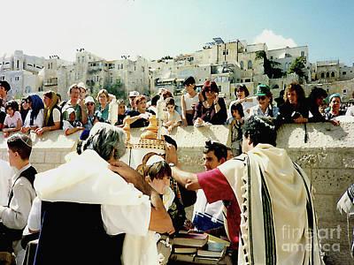 Photograph - Bar Mitzvah At The Western Wall Plaza - Jerusalem, Israel by Merton Allen