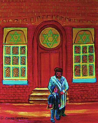 Montreal Street Life Painting - Bar Mitzvah Lesson At The Synagogue by Carole Spandau