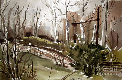 Sycamore Painting - Bar S Ranch Cold January Sycamores by Charlie Spear