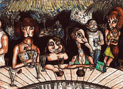 Drawing - Bar Scene by Rae Chichilnitsky