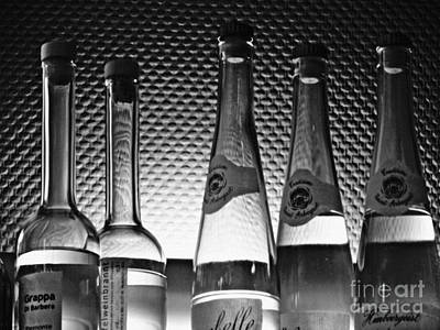 Wine Bottle Wall Art Photograph - Bar Still Life 2 Grayscale by Sarah Loft