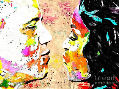Barack And Michelle Colored Grunge Art Print