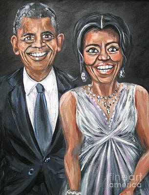 Painting - Barack And Michelle Obama. Painting by Oksana Semenchenko