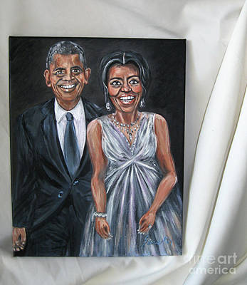 Painting - Barack And Michelle Obama. Portrait. Art 2016 by Oksana Semenchenko