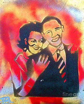 First Lady Michelle Painting - Barack Black Love by Tony B Conscious