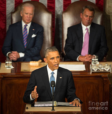 Barack Obama 2015 Sotu Address Art Print by Science Source