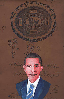 Barack Obama 44th President Of Usa Vintage Old Paper Art Miniature Painting India   Art Print by A K Mundra