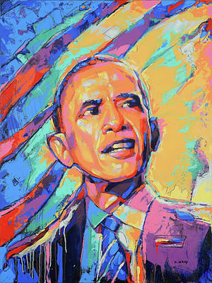Politicians Royalty-Free and Rights-Managed Images - Barack Obama in Color by Damon Gray