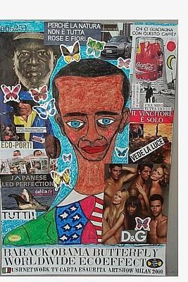 Obama Mixed Media - Barack Obama Butterfly Worldwide Ecoeffect by Francesco Martin