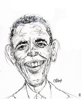 Caricature Drawing - Barack Obama by Cameron Hampton PSA