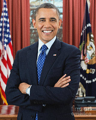 Politicians Paintings - Barack Obama by Celestial Images