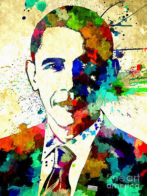 Barack Obama Grunge Art Print by Daniel Janda