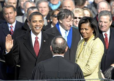 Michelle Obama Photograph - Barack Obama Is Sworn In As The 44th by Everett