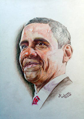 Michelle Obama Drawing - Barack Obama by Jayantilal Ranpara