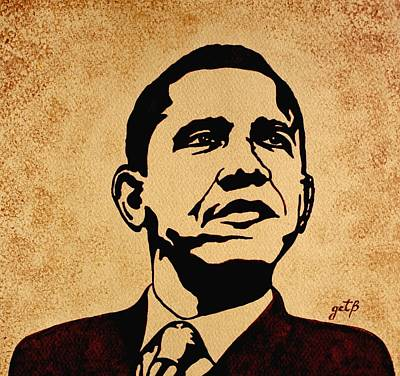 Barack Obama Original Coffee Painting Print by Georgeta  Blanaru