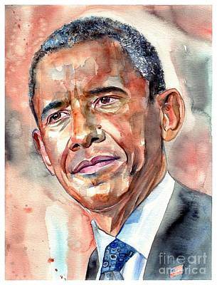 Barack Obama Wall Art - Painting - Barack Obama Painting by Suzann's Art
