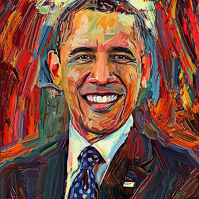 Barack Obama Digital Art - Barack Obama Portrait 2 by Yury Malkov