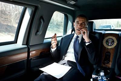 Barack Obama Talks To A Member Art Print by Everett