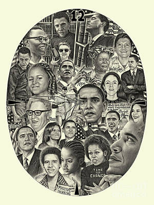 Drawing - Barack Obama- Time For Change by Omoro Rahim