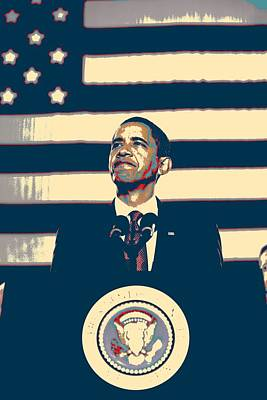Abstract American Flag Painting - Barack Obama With American Flag 4 by Celestial Images
