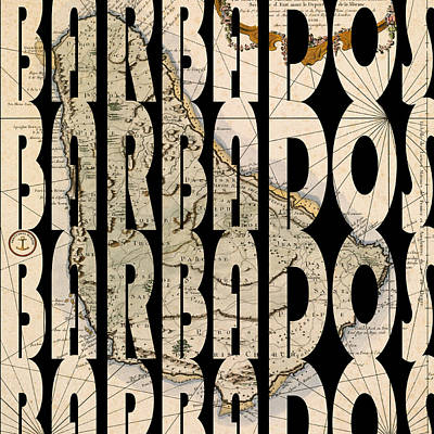 Typography Map Photograph - Barbados 1758 by Andrew Fare