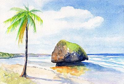 Painting - Barbados Bathsheba Beach by CarlinArt Watercolor