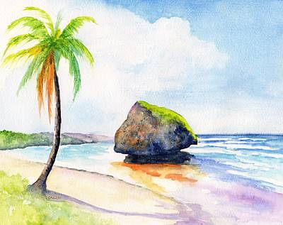 Painting - Barbados Bathsheba Beach Watercolor by CarlinArt Watercolor