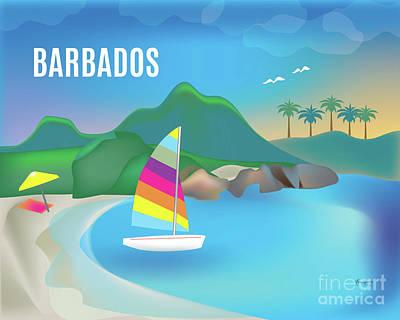 Sailboat Ocean Digital Art - Barbados Horizontal Scene by Karen Young