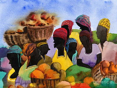 Painting - Barbados Marketplace by Val Byrne