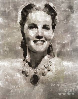 Elvis Presley Painting - Barbara Britton, Actress by Mary Bassett