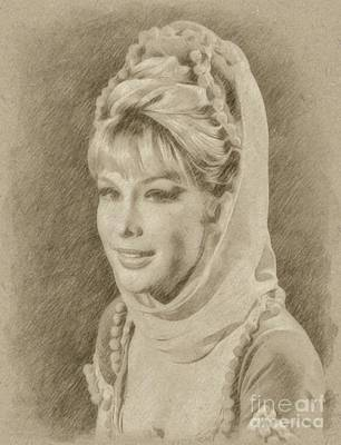 Fantasy Drawings - Barbara Eden, Actress, Jeannie by Frank Falcon
