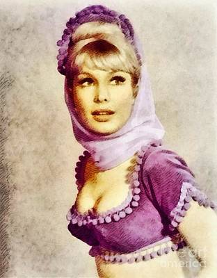Glamor Painting - Barbara Eden, Vintage Actress By John Springfield by John Springfield