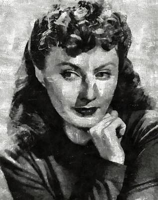 Bewitched Painting - Barbara Stanwyck Hollywood Actress by Mary Bassett