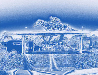 Racetrack Digital Art - Barbaro Statue At Churchill Downs - Blue Metal Haze by Marian Bell