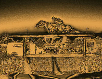 Horse In The Run Digital Art - Barbaro Statue At Churchill Downs In Gold Tones by Marian Bell