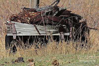 Photograph - Barbed Wire Wagon by Ann E Robson