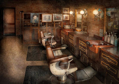 Barber Chair Photograph - Barber - Clinton Nj - Clinton Barbershop  by Mike Savad